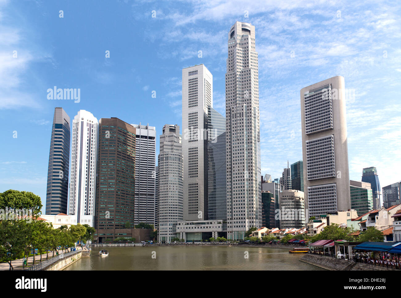 Singapore riverbank in the sunshine day - Stock Image