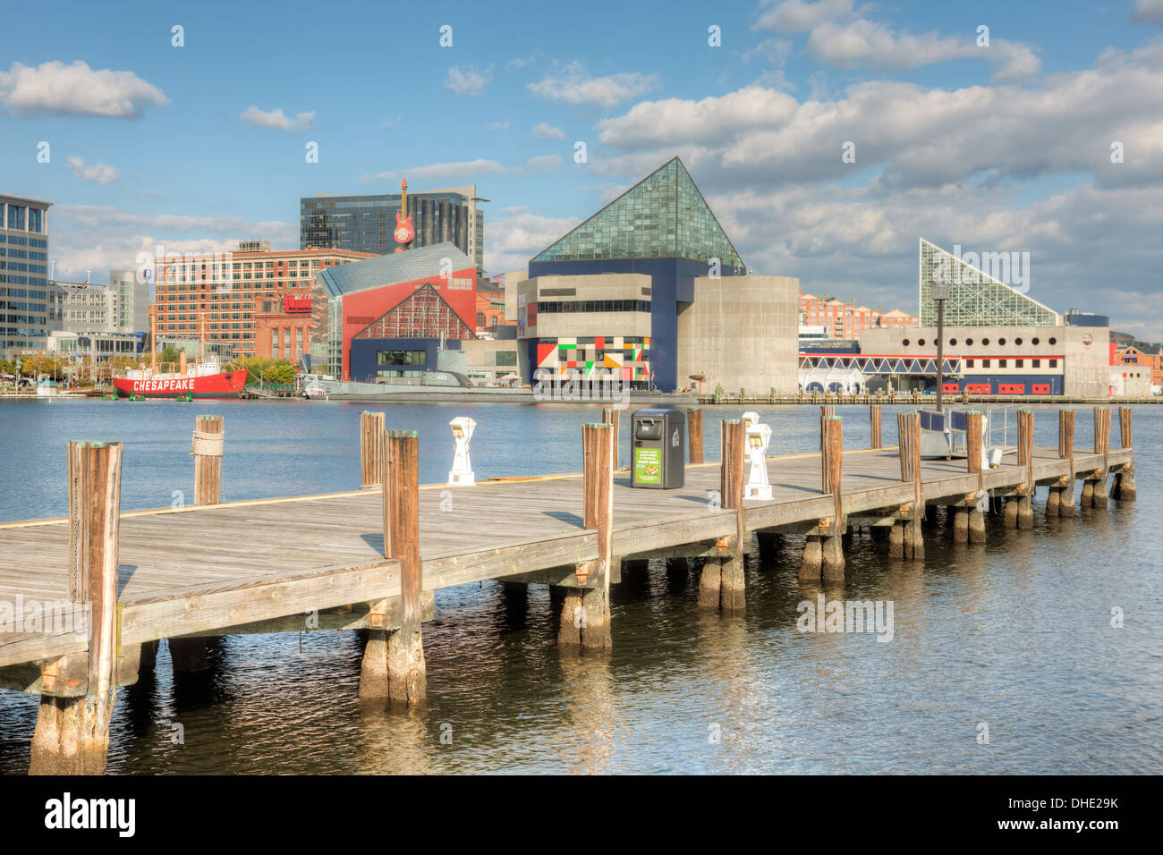 A view of the National Aquarium, Baltimore under a partly cloudy sky in Baltimore, Maryland. Stock Photo