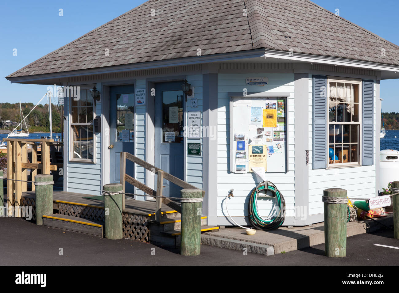 The Harbor Master's office at the public landing in Belfast, Maine. - Stock Image