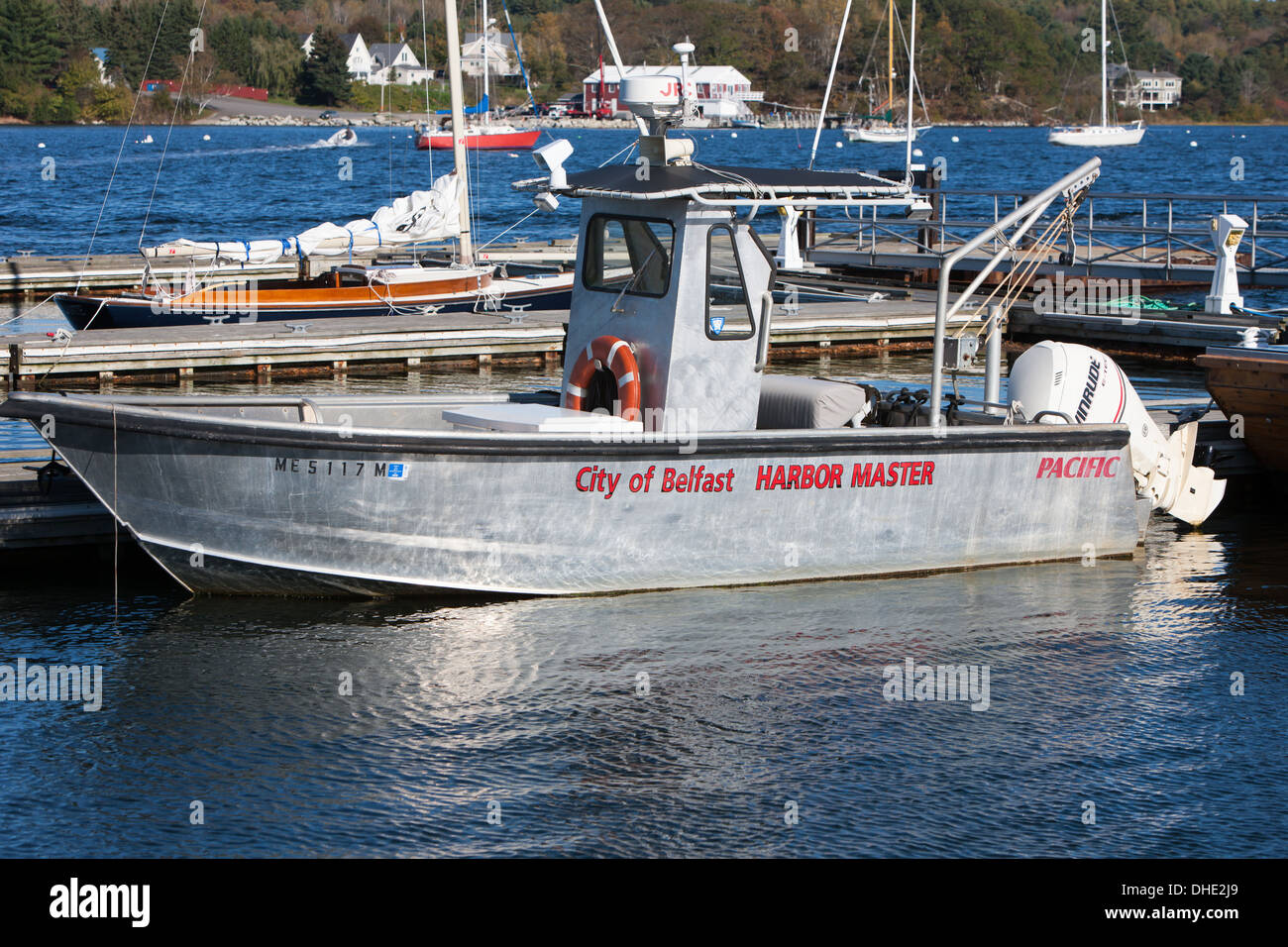The Harbor Master's boat anchored at the public landing in Belfast, Maine. - Stock Image