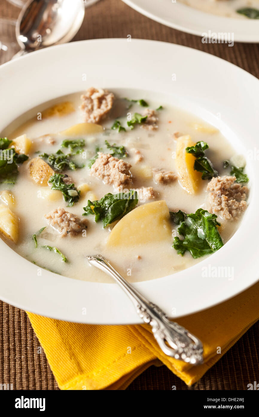 Sausage and Kale Tuscana Soup with Potato Appetizer - Stock Image