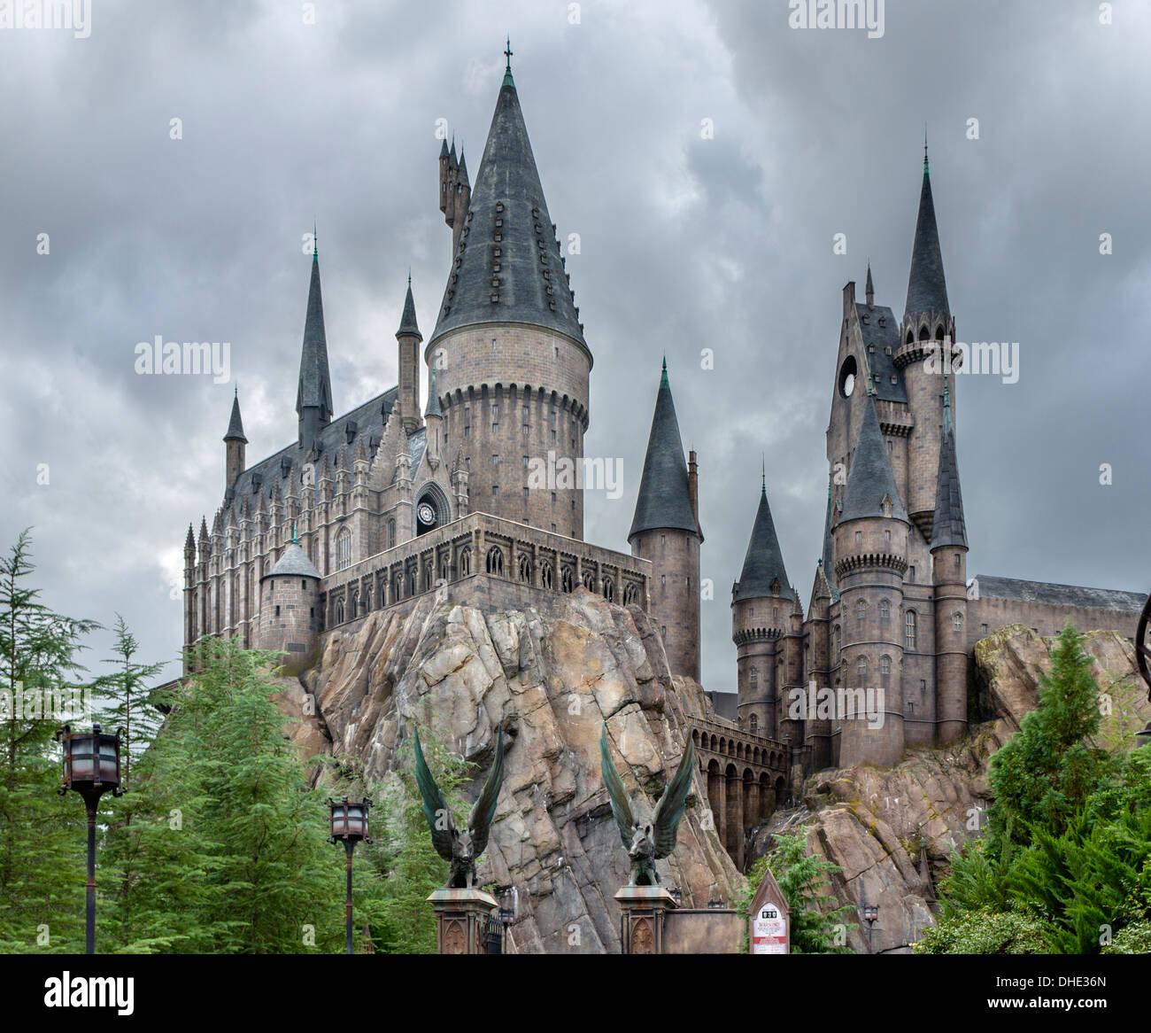 Hogwarts Castle, Wizarding World of Harry Potter, Islands of Adventure, Universal Orlando Resort, Orlando, Central Florida, USA - Stock Image