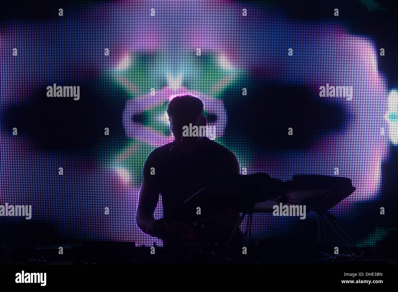 disk jockey dj screens color music party fun dance entertain entertainment colorful display change computer arrange rhythm cd - Stock Image