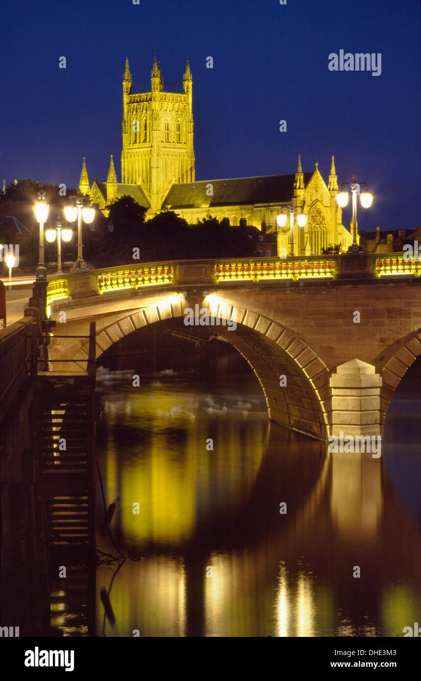 Worcester Cathedral at night with the Worcester Bridge in the foreground. Stock Photo