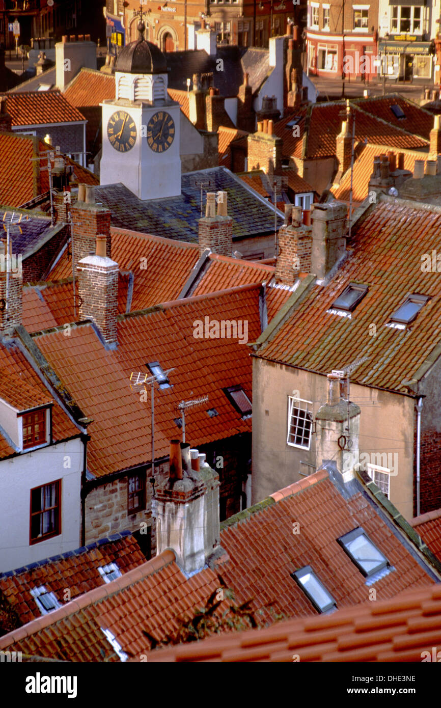 Pan tiled roofs at Whitby, North Yorkshire, from the 199 steps. Stock Photo
