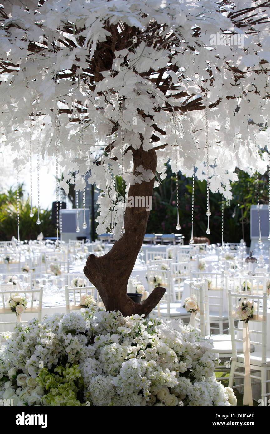 wedding reception decoration table chair trees eat eating plates utensils decor decorative art artistic skillful design day - Stock Image