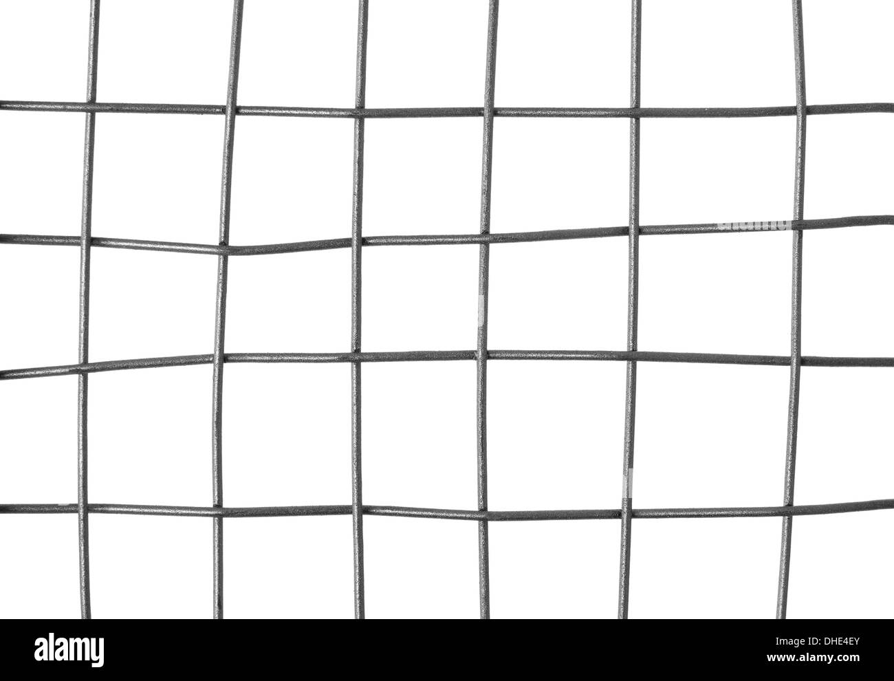 Close-up of a metal grid, isolated on white background. - Stock Image