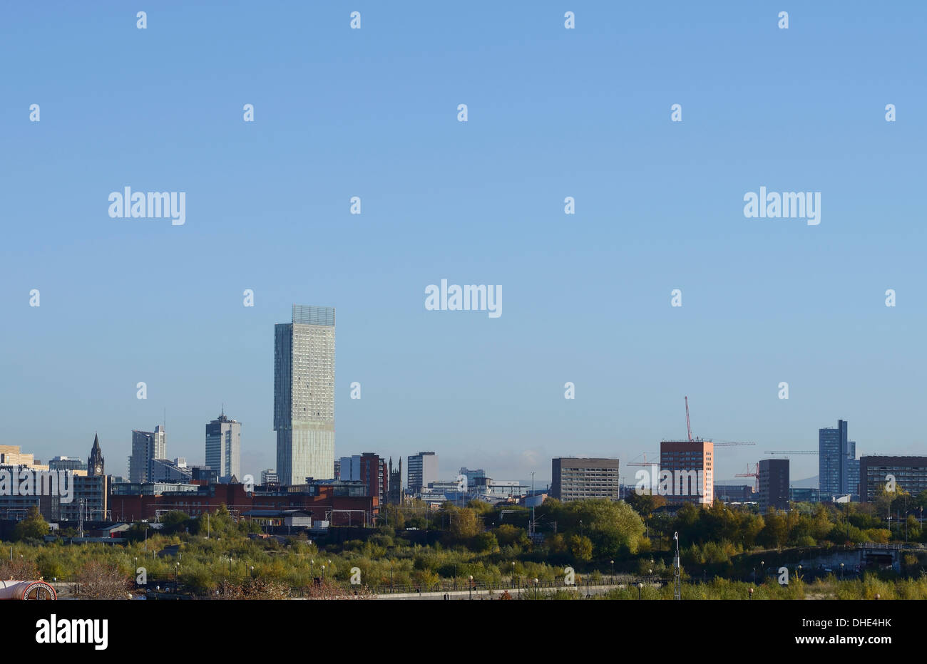 Manchester city centre skyline including the Beetham Tower - Stock Image