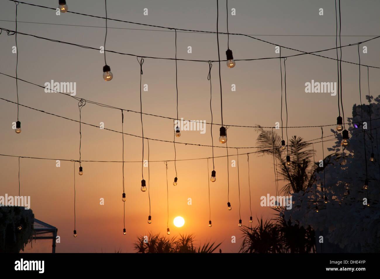 hanging lights sunset decoration party colors wire orange light lit