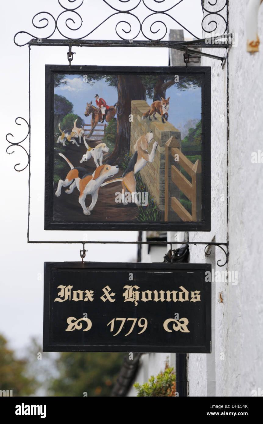 Decorative pub sign in the village of Houston in Scotland. Stock Photo