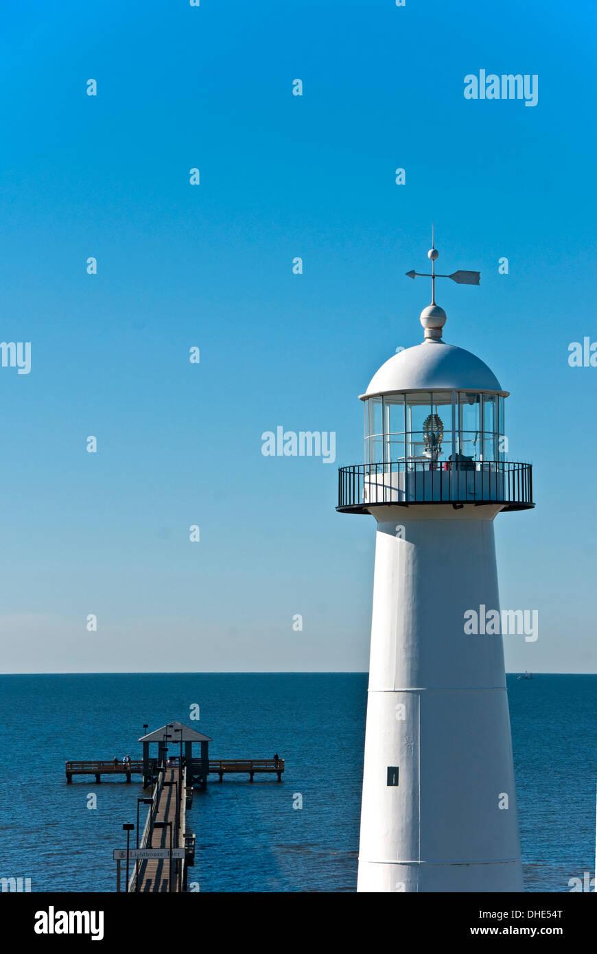 Mississippi Gulf Coast S Biloxi Lighthouse And Lighthouse Pier On Stock Photo Alamy