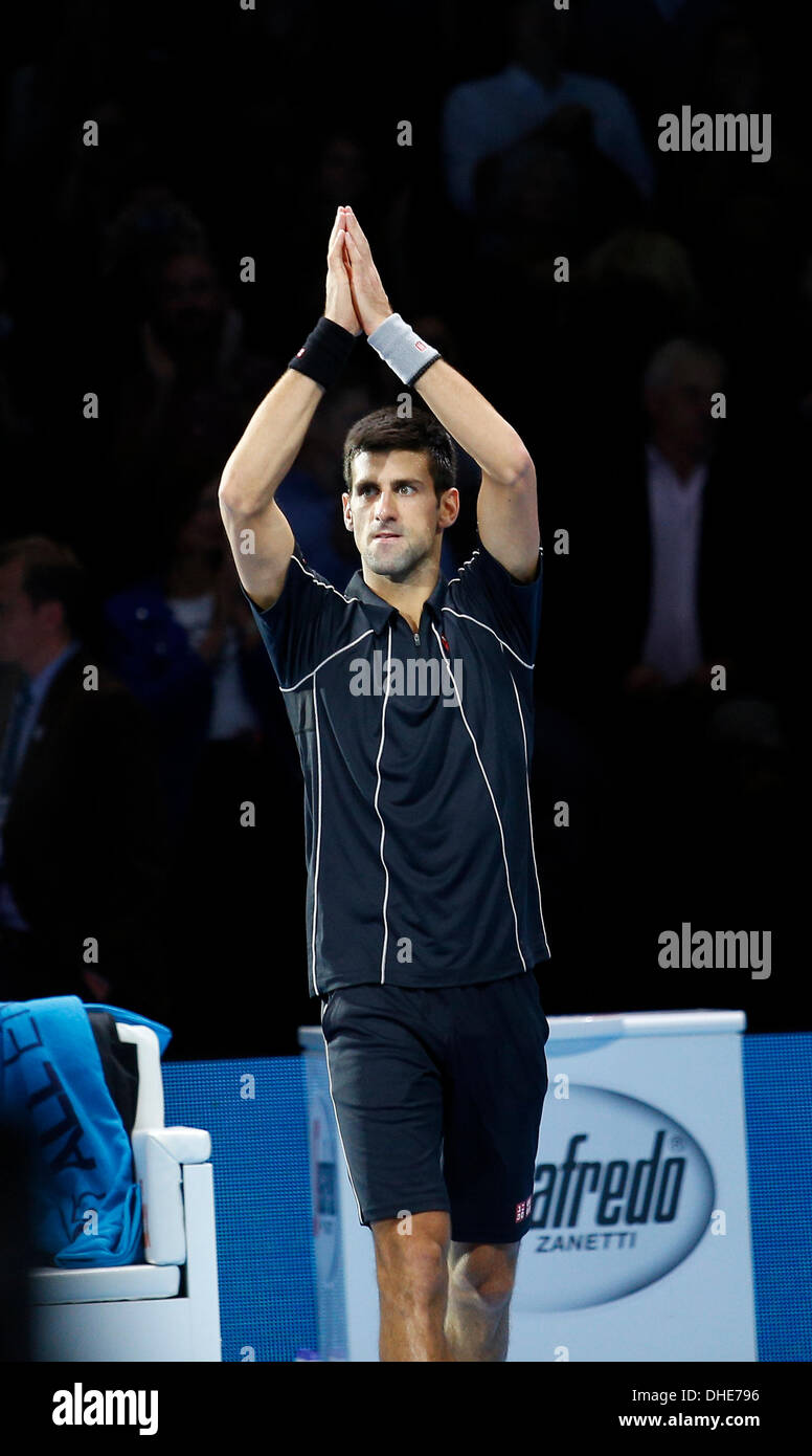London, UK. 07th Nov, 2013. Novak Djokovic [SRB] applauds the crowd after huis match against Juan Martin Del Potro [ARG] on day 4 of The ATP World Tour Finals 2013, Tennis Tournament at the O2 Arena London. Novak Djokovic [SRB] won the match 6-3, 3-6, 6-3. Credit:  Action Plus Sports/Alamy Live News - Stock Image