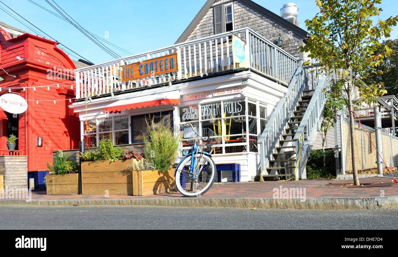 Provincetown Cape Cod Street Scene With The Canteen Restaurant Stock