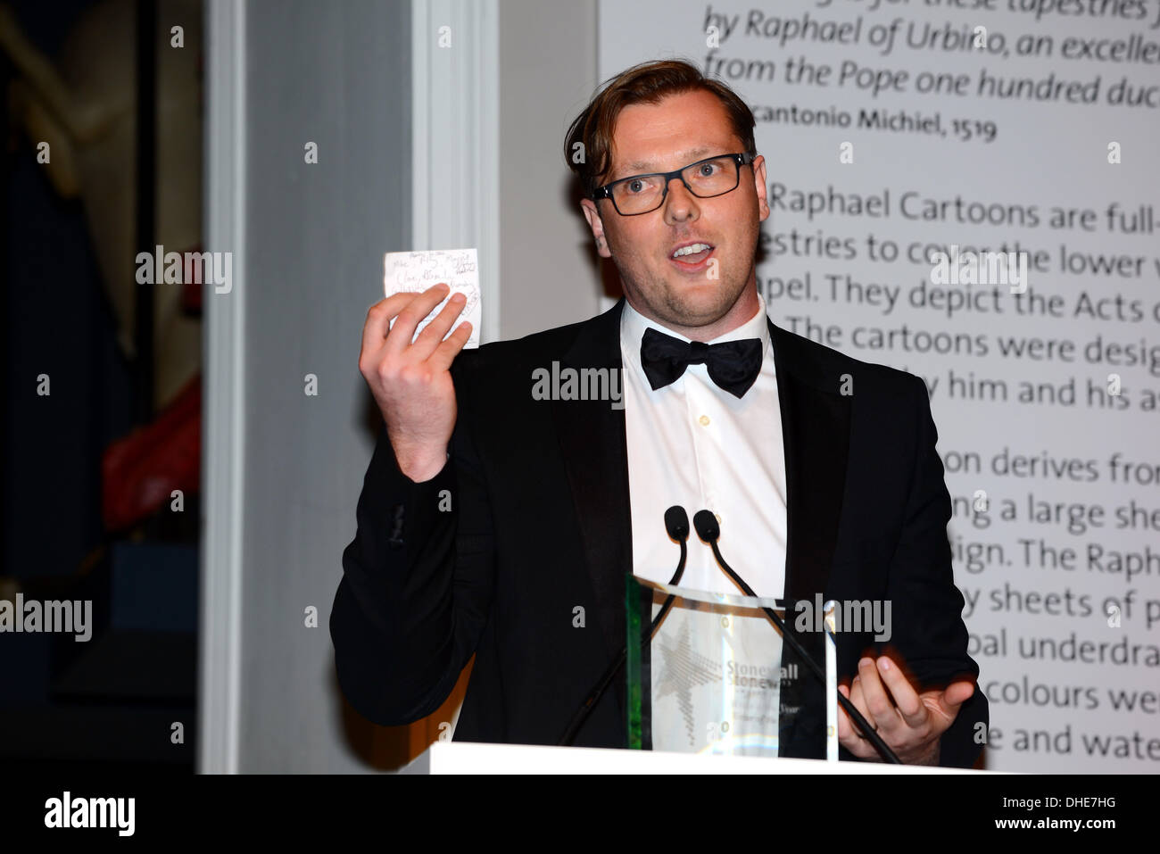 London, UK. 7th Nov 2013.  Damian Barr, Stonewall Writer Award of the year Stonewall Awards 2013 taking place at the Victoria and Albert Museum. Credit:  See Li/Alamy Live News - Stock Image