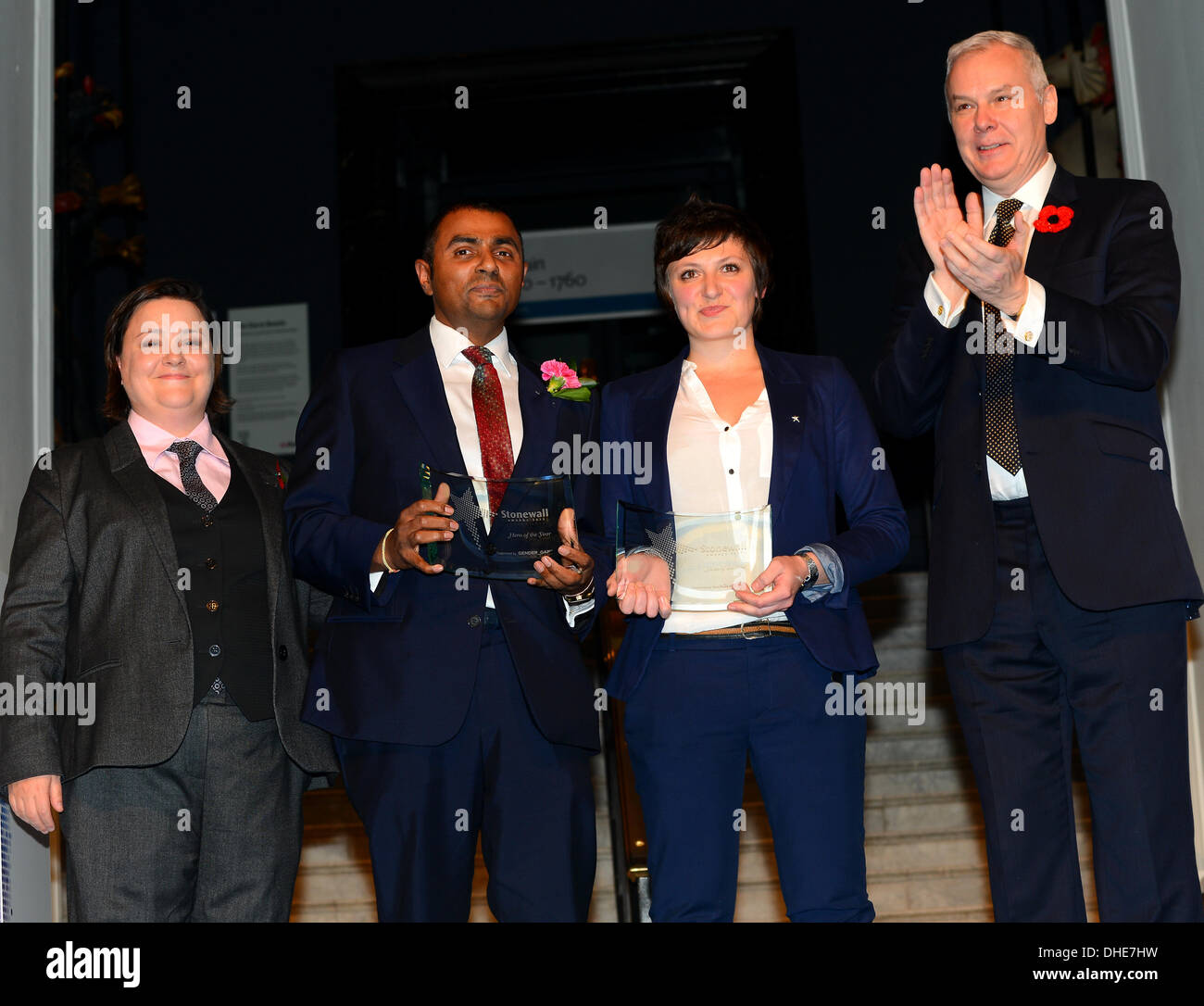 London, UK. 7th Nov 2013.  Hero of the year, Lord Alli and Dawn Airey of the Stonewall Awards 2013 taking place at the Victoria and Albert Museum. Credit:  See Li/Alamy Live News - Stock Image