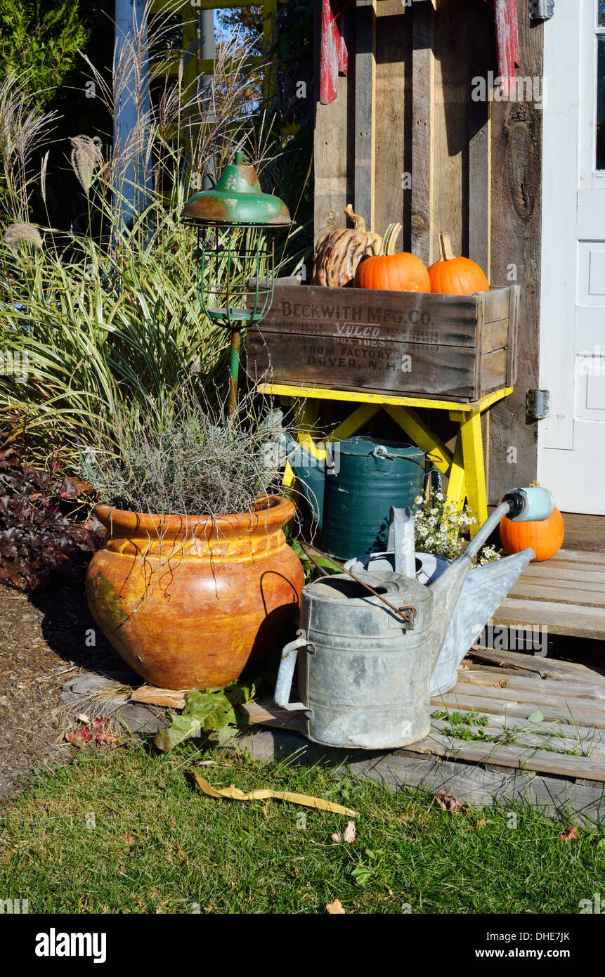 Autumn New England outside scene with plants, pumpkins and watering cans. USA - Stock Image