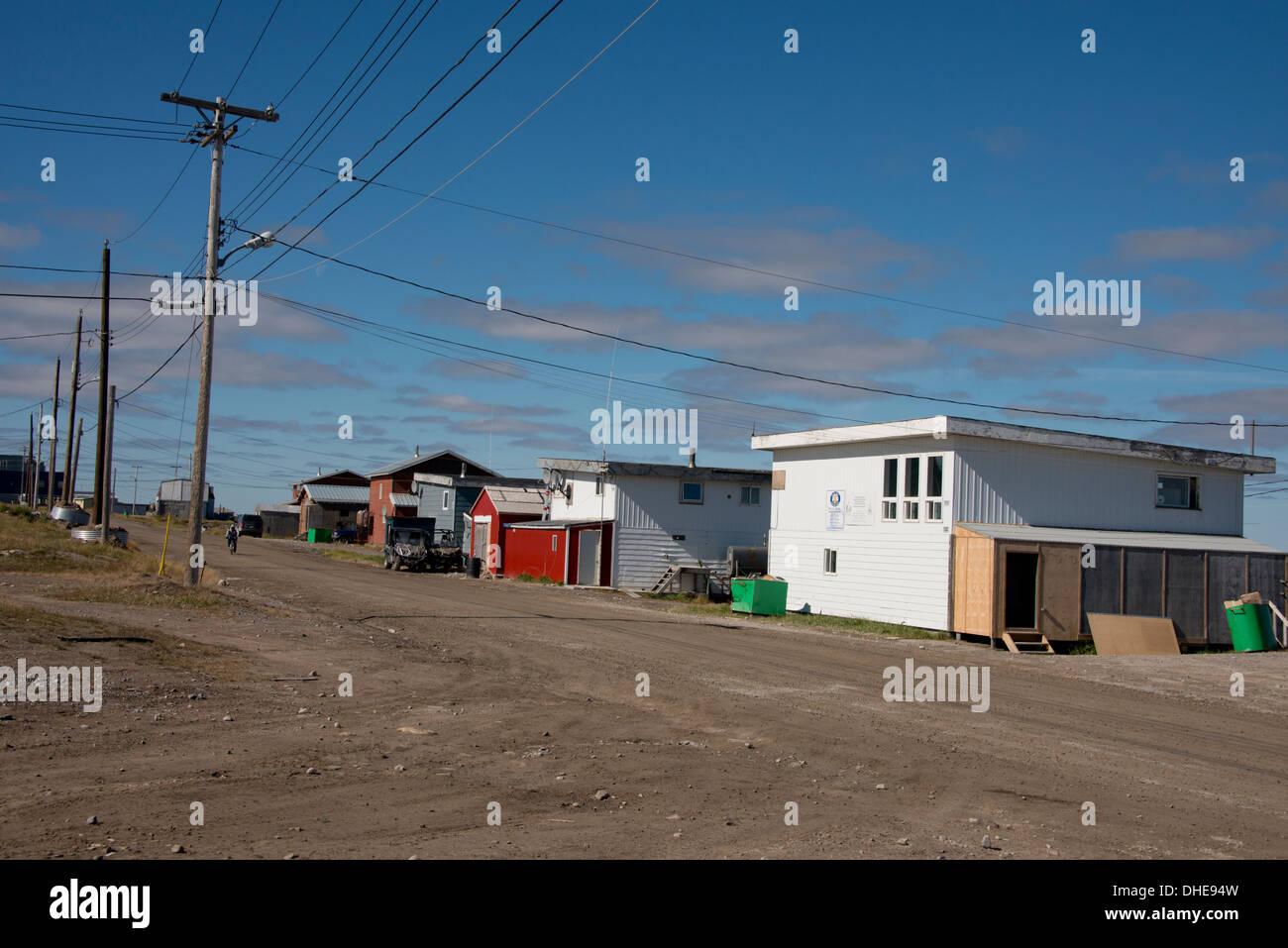 Canada, Nunavut, western shore of Hudson Bay, Kivalliq Region, Arviat. Typical northern community village. - Stock Image