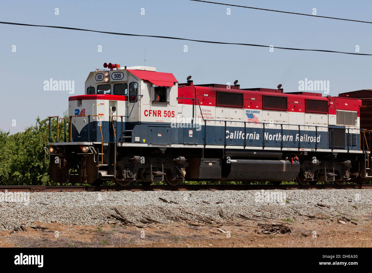 California Northern Railroad freight train - California USA - Stock Image
