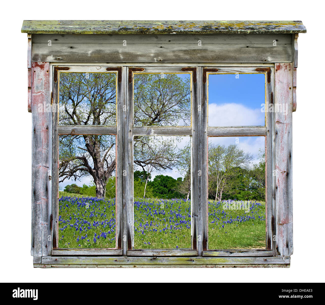 Old rustic window frame with Texas bluebonnet country vista in Stock ...