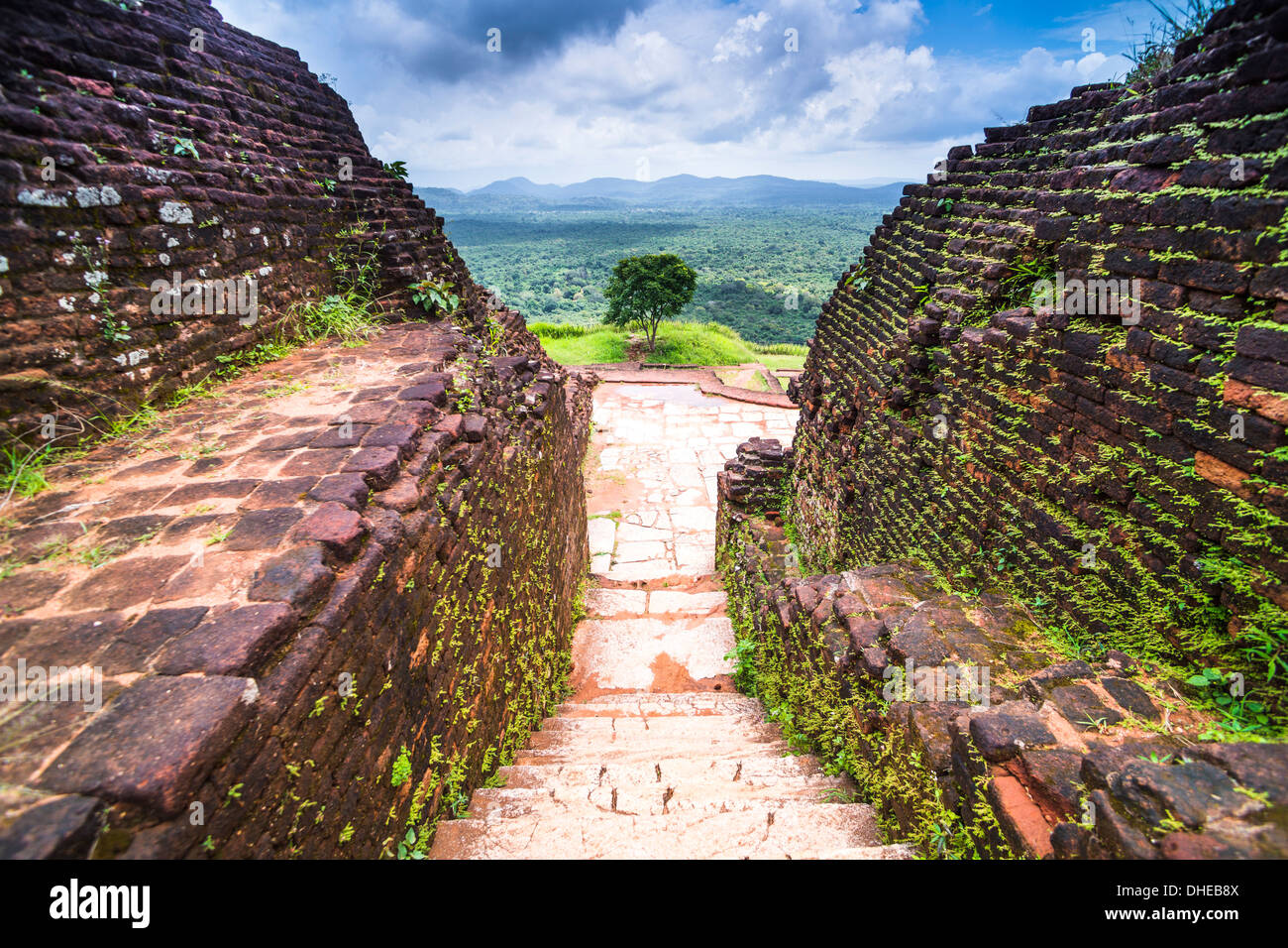 Ruins at the top of Sigiriya Rock Fortress (Lion Rock), UNESCO World Heritage Site, Sri Lanka, Asia - Stock Image
