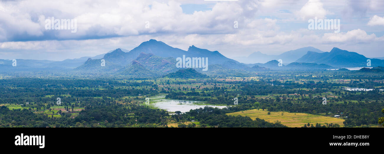 Mountain landscape, taken from the top of Sigiriya Rock Fortress (Lion Rock), Sri Lanka, Asia - Stock Image