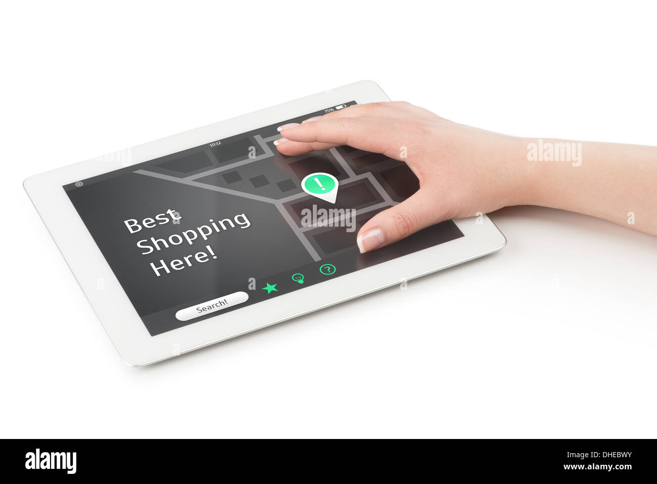 Woman's hand over a tablet computer extending fingers. There is a map on the screen with points of interest and the inscription - Stock Image