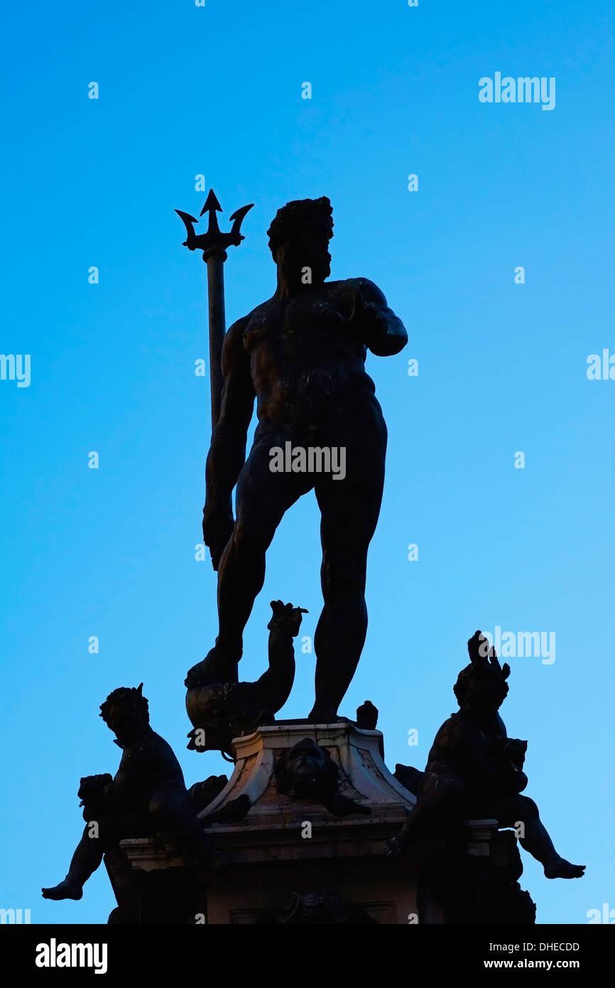 Fontana del Nettuno, Piazza Maggiore, Bologna, Emilia-Romagna, Italy, Europe - Stock Image
