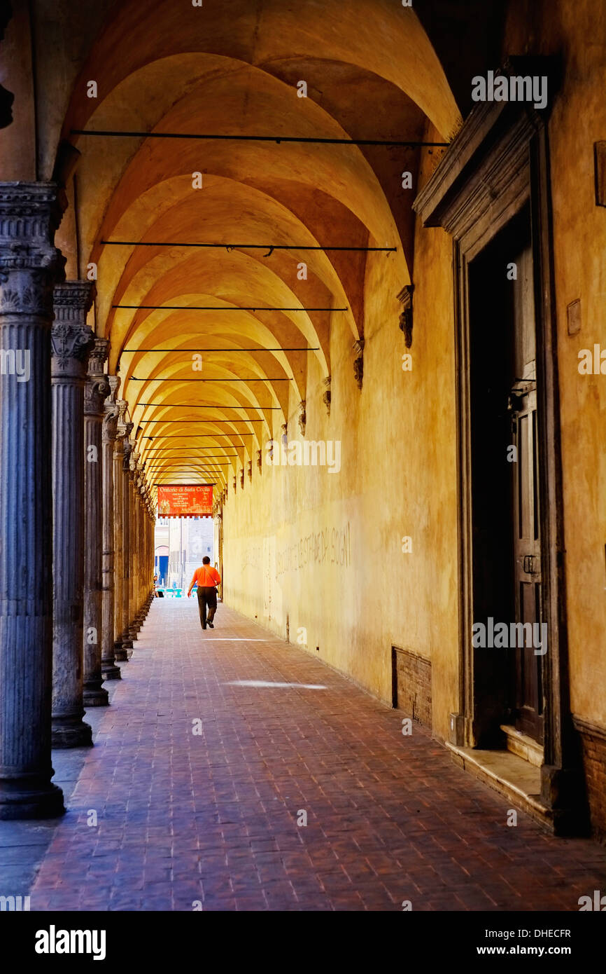 Arcade in the old city, Bologna, Emilia-Romagna, Italy, Europe - Stock Image