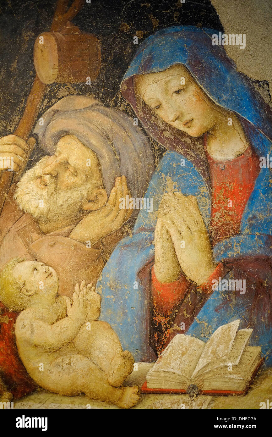 Sacra Famiglia by Amico Aspertini, dated 1518, Pincoteca Nazionale Art Gallery, Bologna, Emilia-Romagna, Italy, Europe - Stock Image