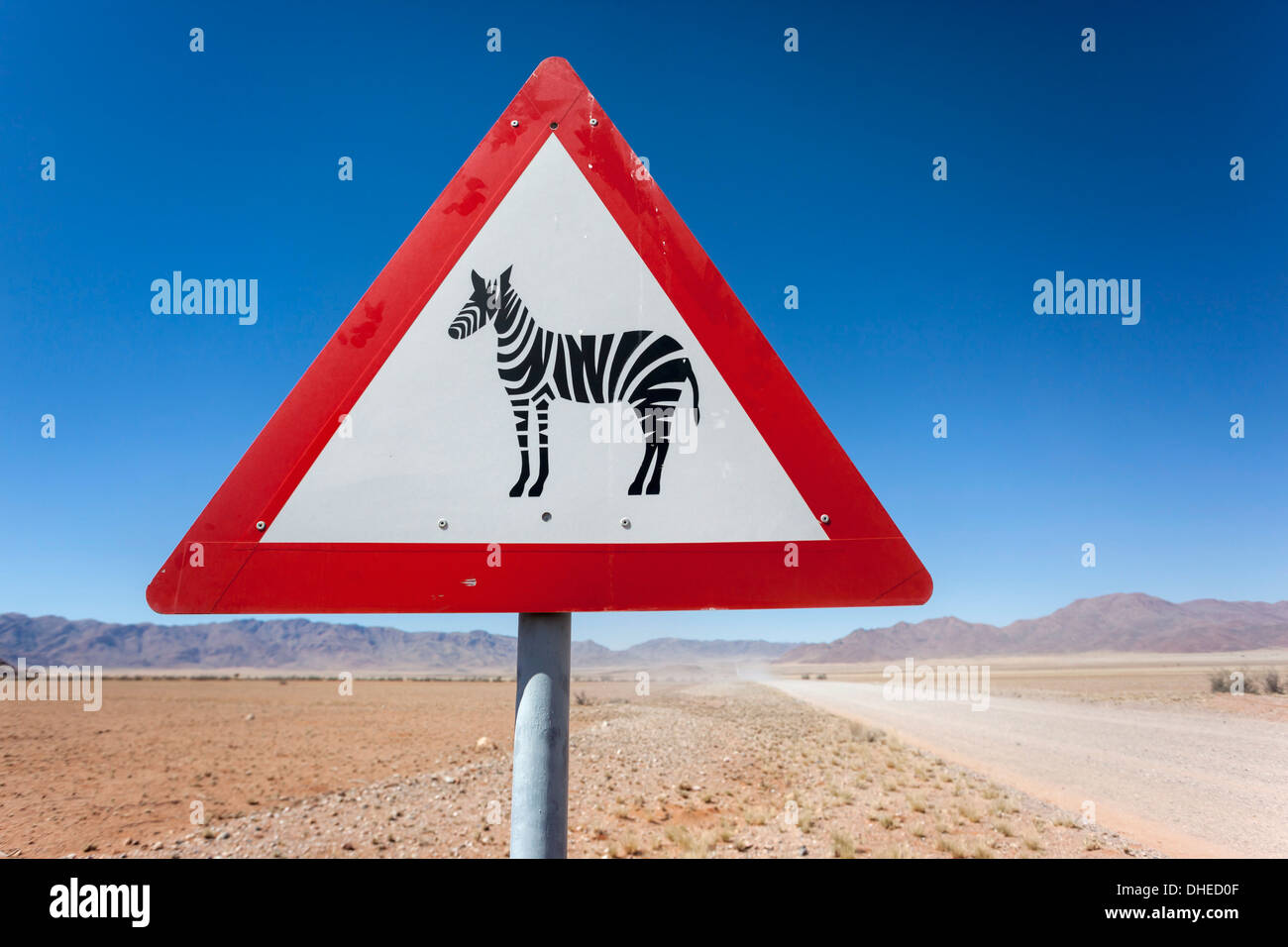 Zebra crossing animal warning sign, Namib Desert, Namibia, Africa Stock Photo