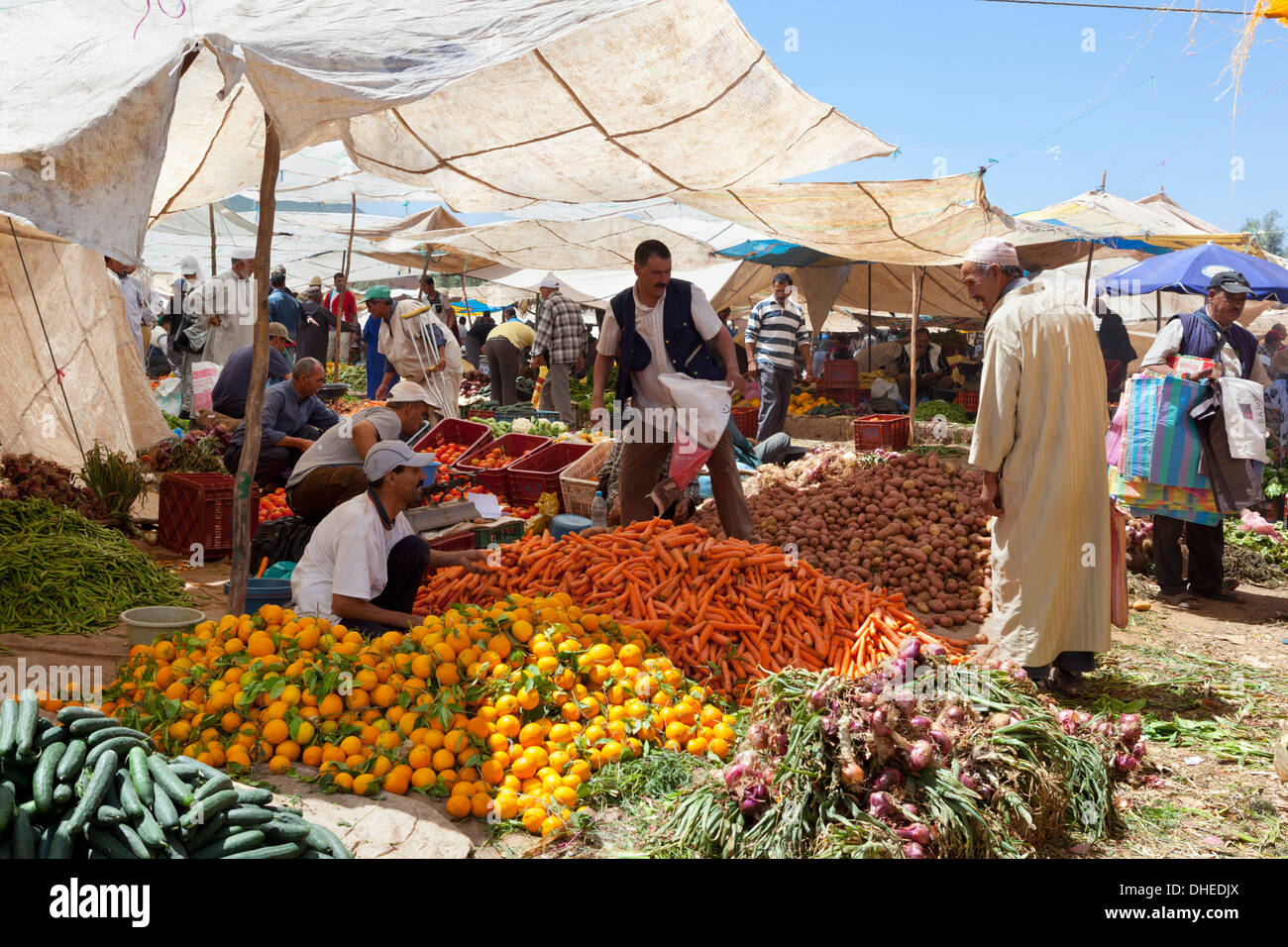 Monday Berber market, Tnine Ourika, Ourika Valley, Atlas Mountains, Morocco, North Africa, Africa - Stock Image
