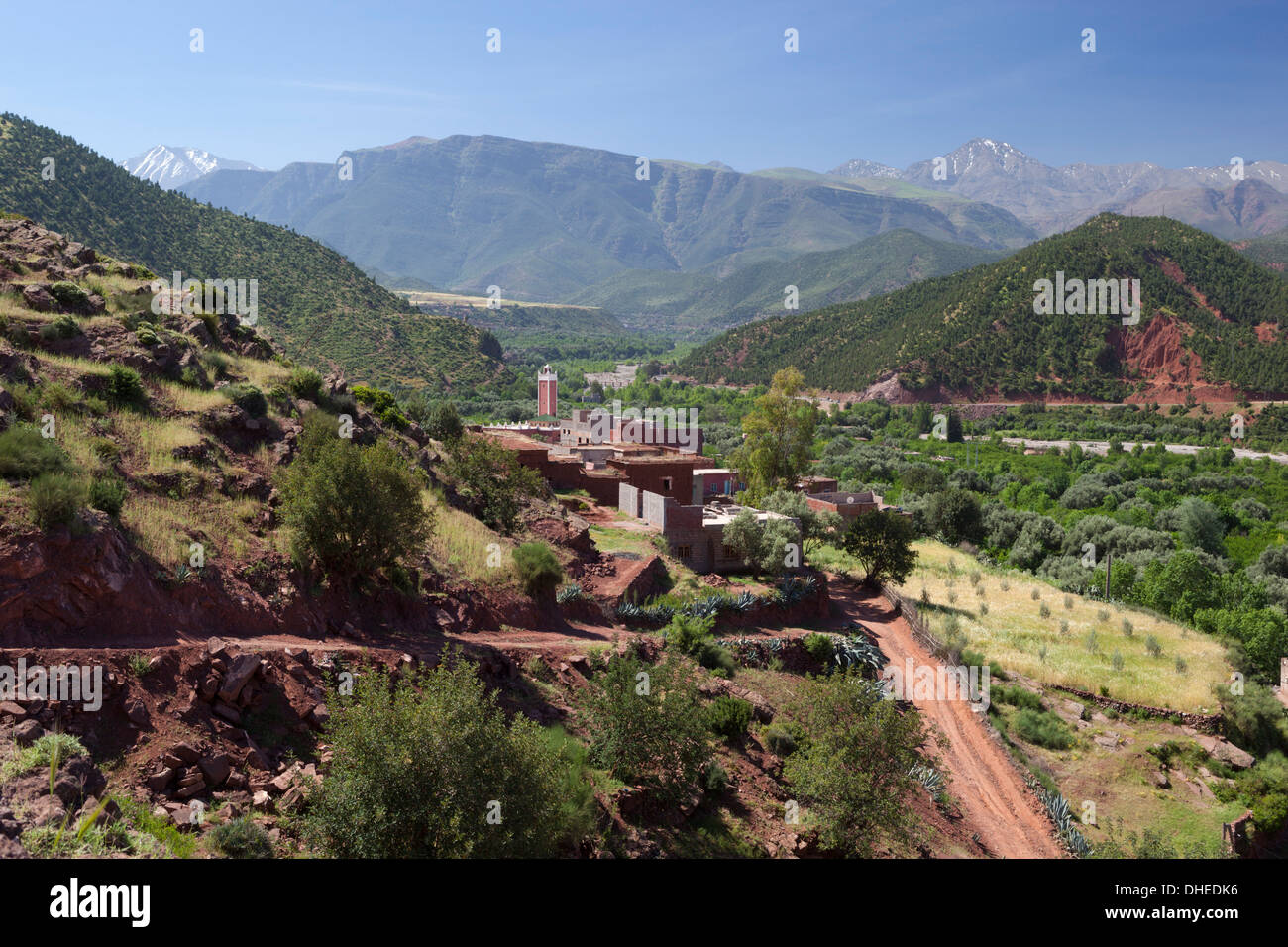 Berber village, Ourika Valley, Atlas Mountains, Morocco, North Africa, Africa - Stock Image