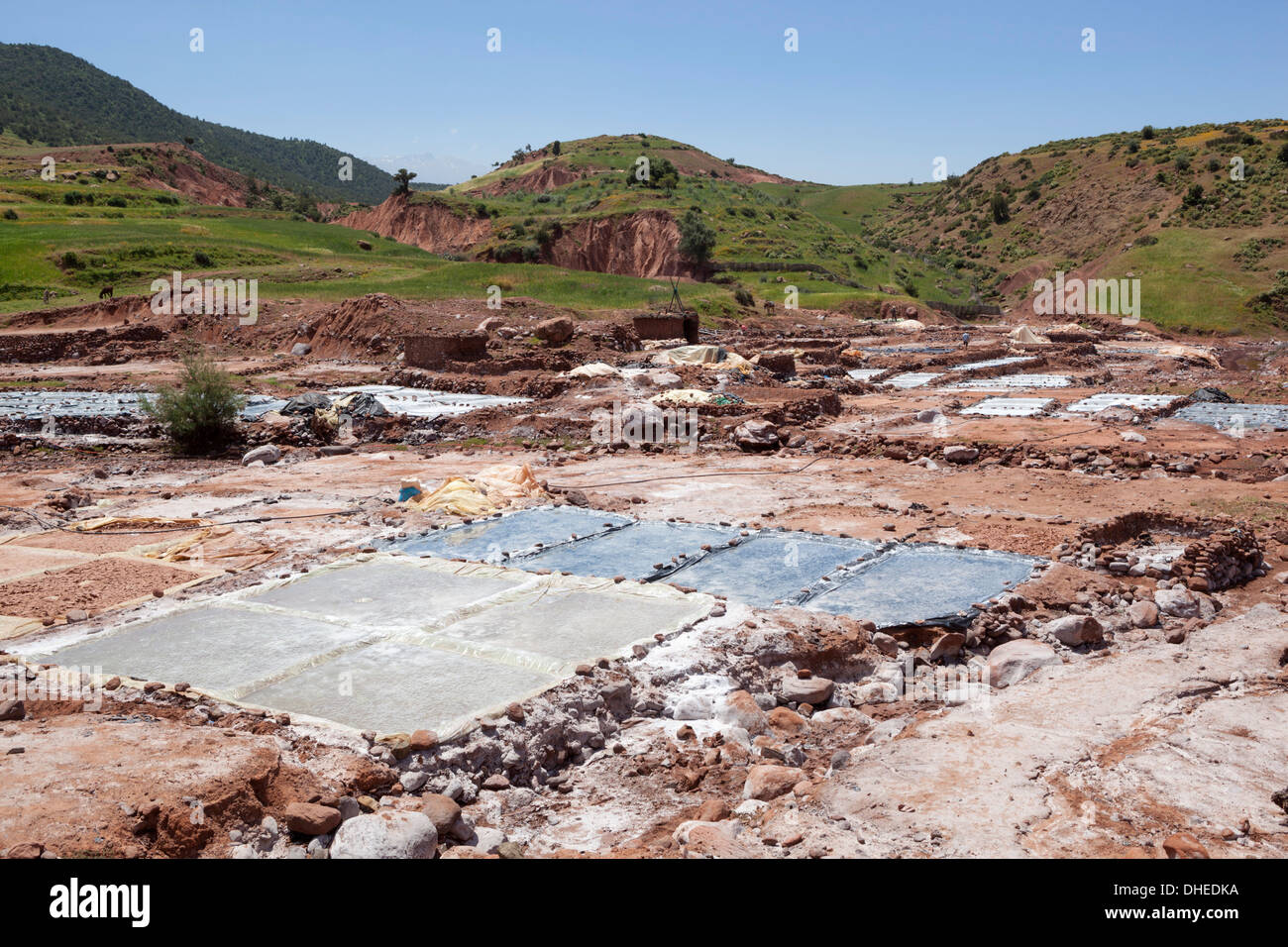 Salt evaporation ponds, Ourika Valley, Atlas Mountains, Morocco, North Africa, Africa - Stock Image