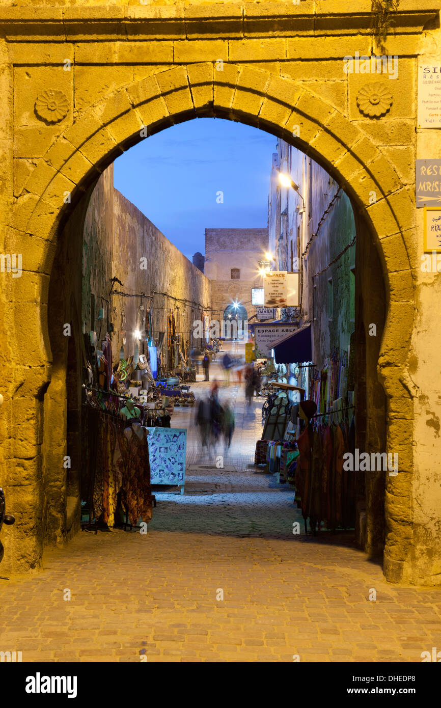 Rue de la Skala in the Medina at night, UNESCO World Heritage Site, Essaouira, Atlantic coast, Morocco, North Africa, Africa - Stock Image