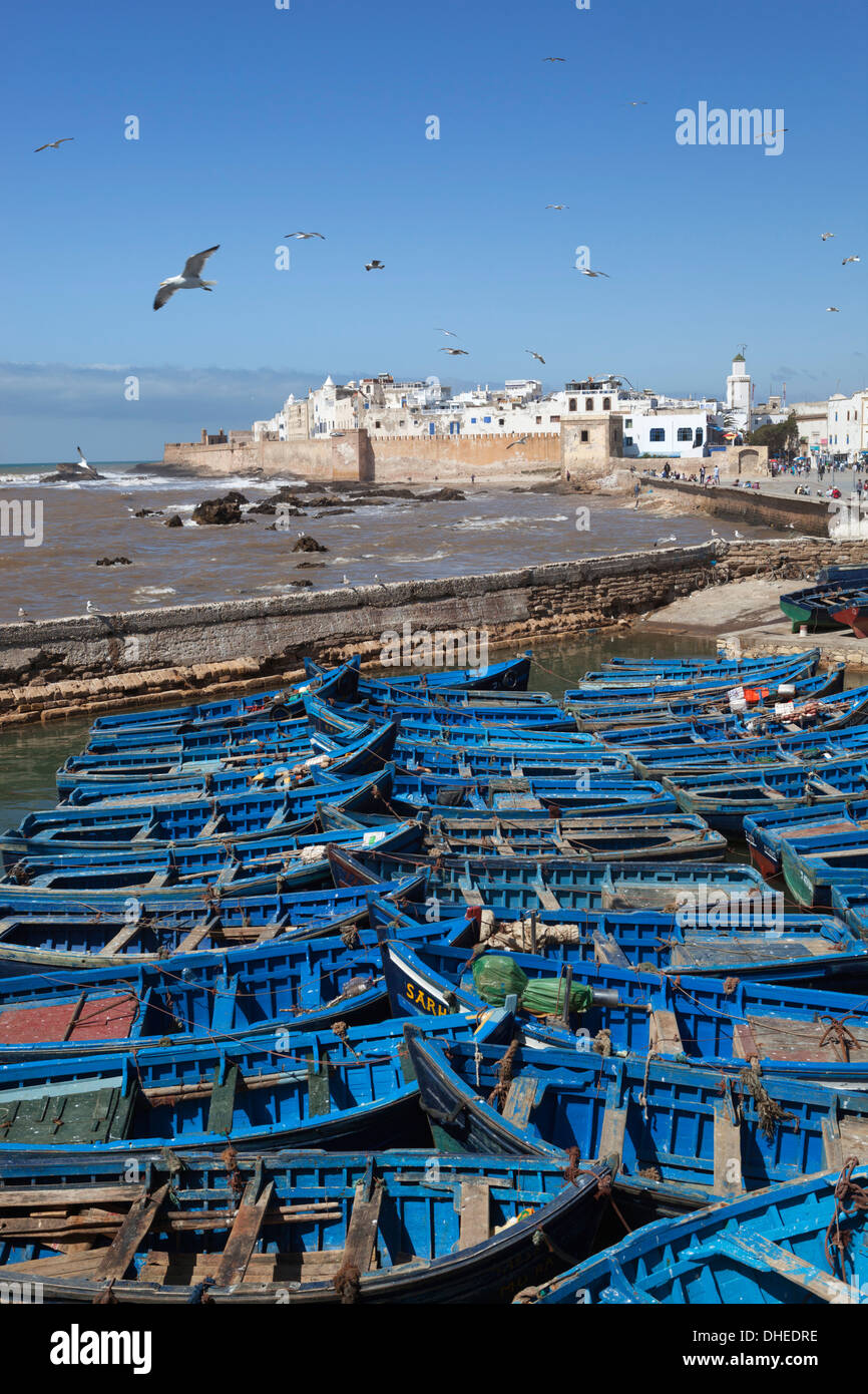 View over the fishing harbour to the ramparts and medina, Essaouira, Atlantic coast, Morocco, North Africa, Africa - Stock Image
