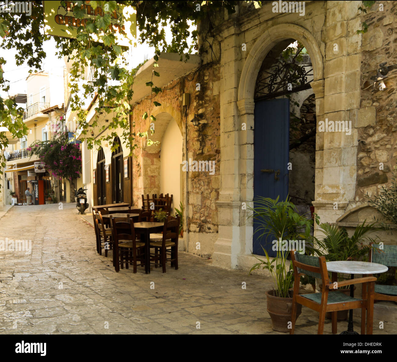 Authentic Greek mood, tranquil atmosphere with traditional kafenion, Panormo, Rethymno region, on the island of Crete, Greece. - Stock Image