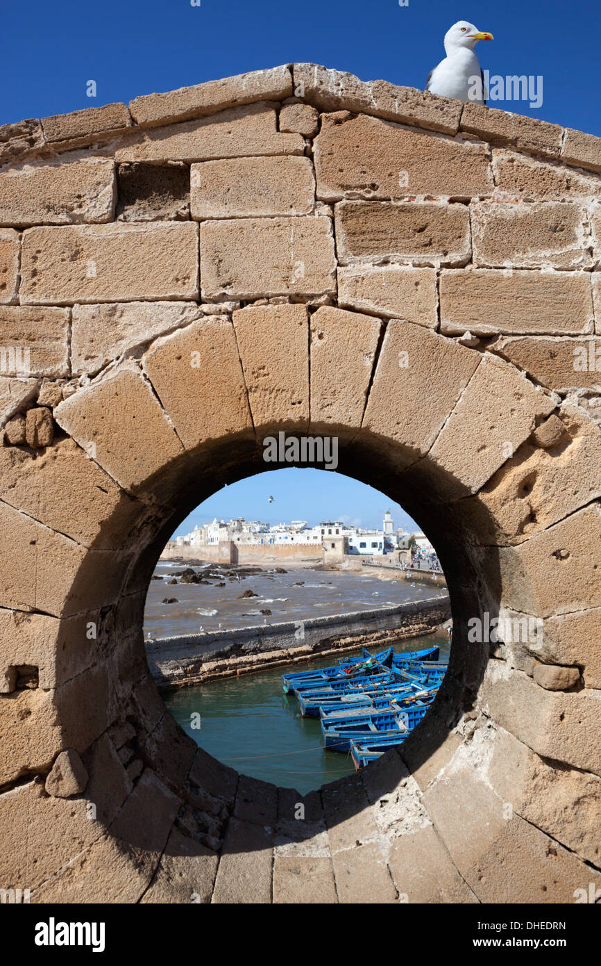 View to the ramparts and medina from the old fort, Essaouira, Atlantic coast, Morocco, North Africa, Africa - Stock Image