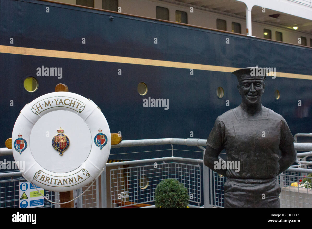 Yachtsman statue at The Royal Yacht Britannia which is berthed in Edinburgh, Scotland. - Stock Image