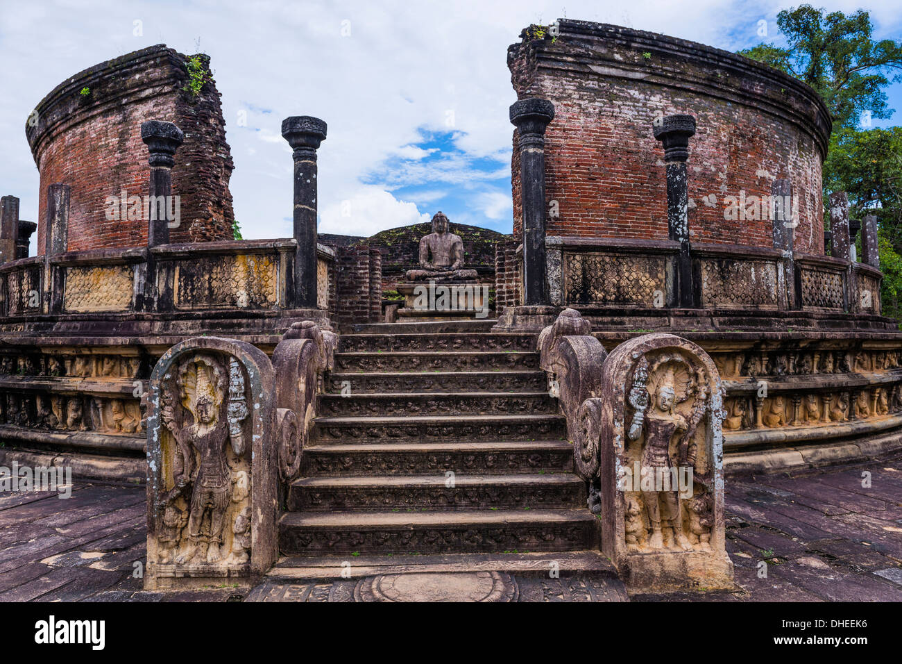 Vatadage (Circular Relic House), Polonnaruwa Quadrangle, UNESCO World Heritage Site, Sri Lanka,Asia - Stock Image
