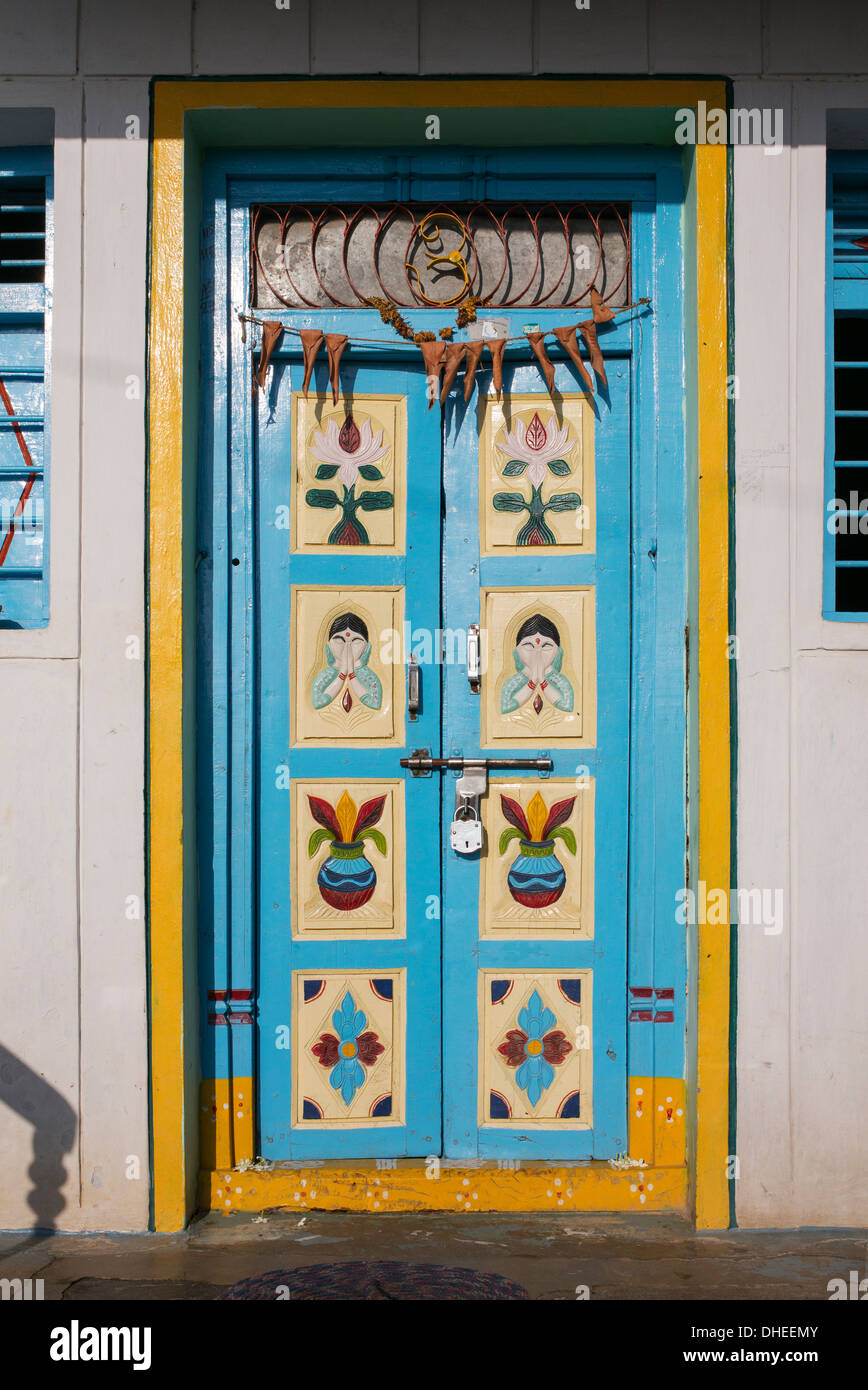Colourful Traditional Indian Front Door Andhra Pradesh