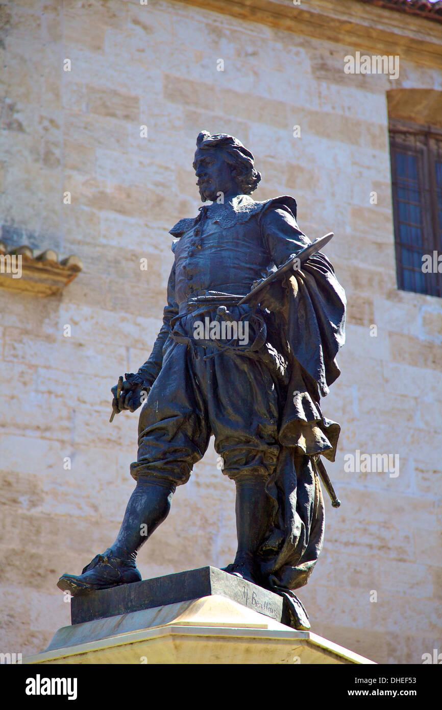 Statue of Jose de Ribera, Plaza Del Poeta Llorente, Valencia, Spain, Europe - Stock Image