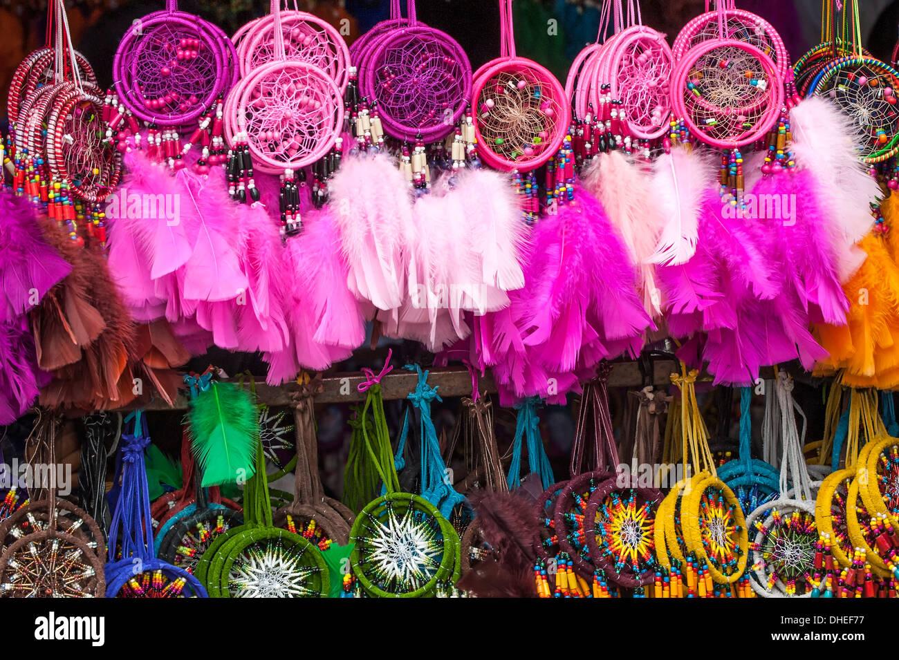 Otavalo market, souvenir shop, Imbabura Province, Ecuador - Stock Image