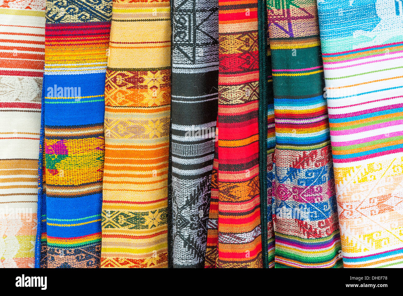 Otavalo market, traditional colourful textiles, Imbabura Province, Ecuador - Stock Image