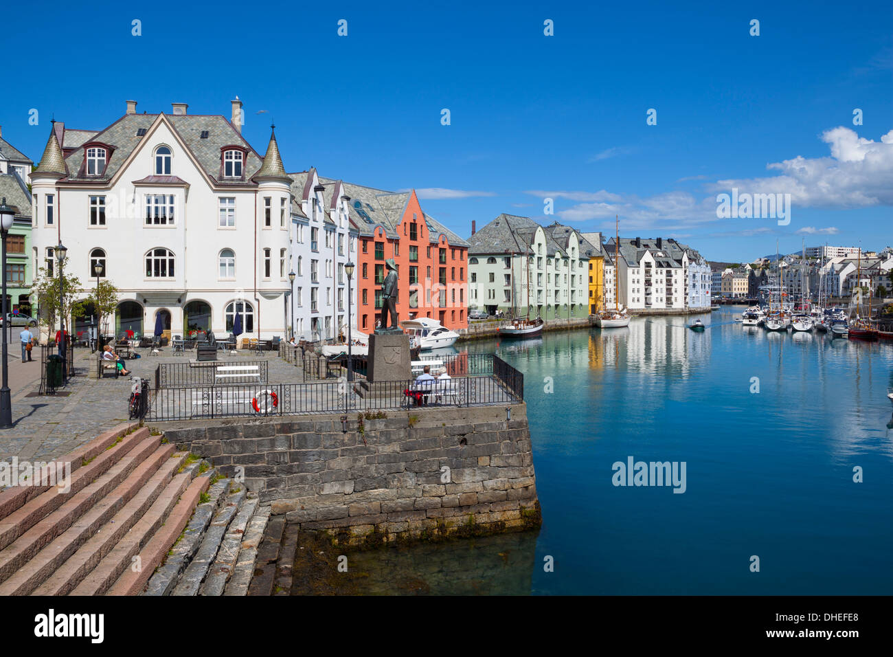 Old fishing warehouses in harbor, Alesund, Sunnmore, More og Romsdal, Norway, Scandinavia, Europe - Stock Image