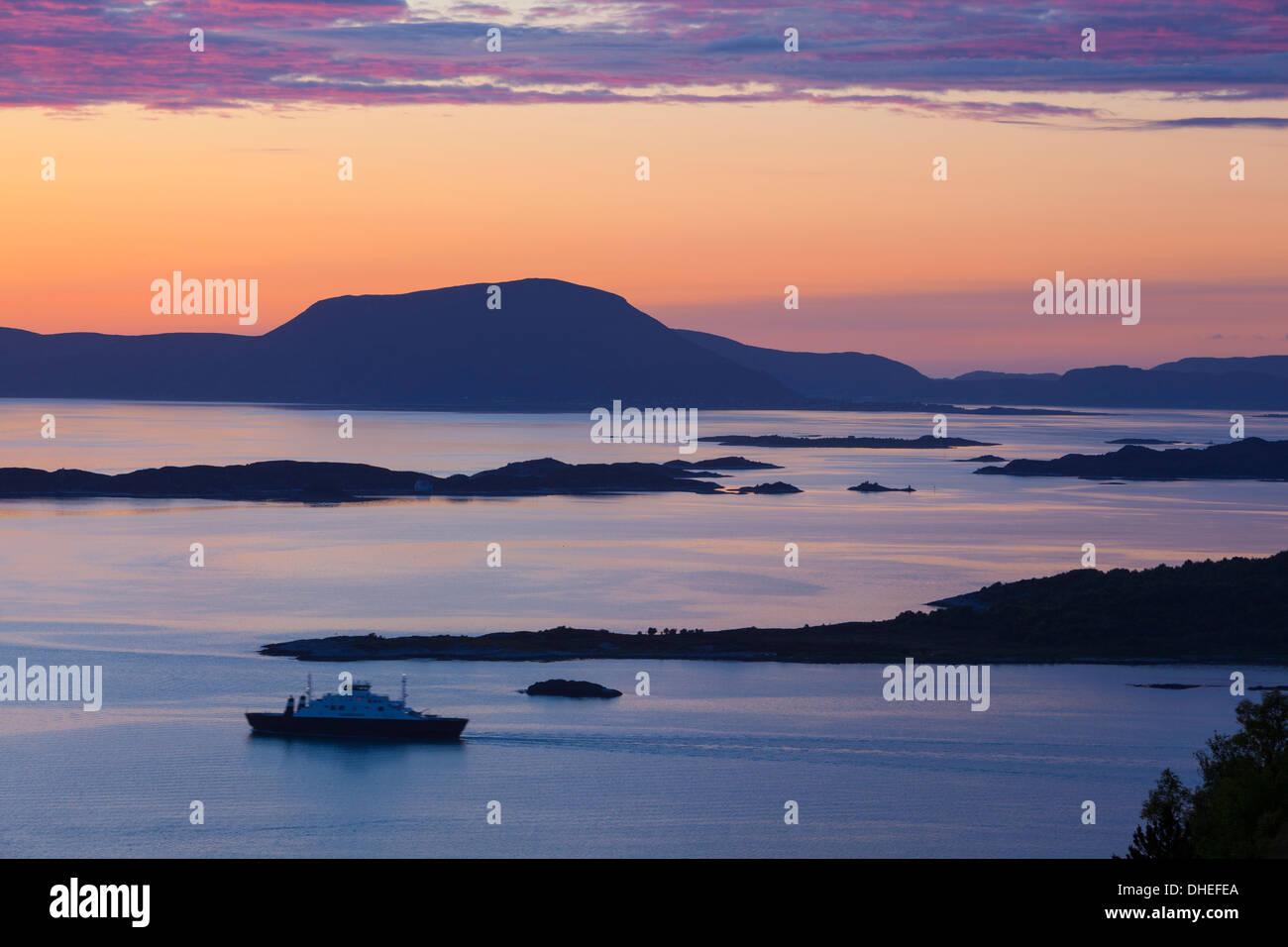 Sunset over Giske Island, Sunnmore, More og Romsdal, Norway, Scandinavia, Europe - Stock Image