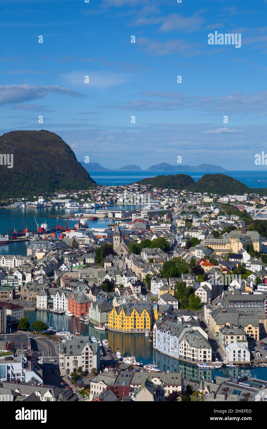 Elevated view over Alesund, Sunnmore, More og Romsdal, Norway, Scandinavia, Europe - Stock Image