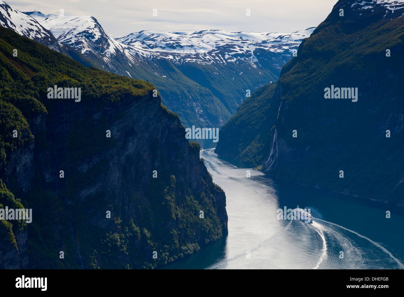 Cruise Boat on Fjord, Geiranger, Geiranger Fjord, UNESCO World Heritage Site, More og Romsdal, Norway, Scandinavia, Europe - Stock Image