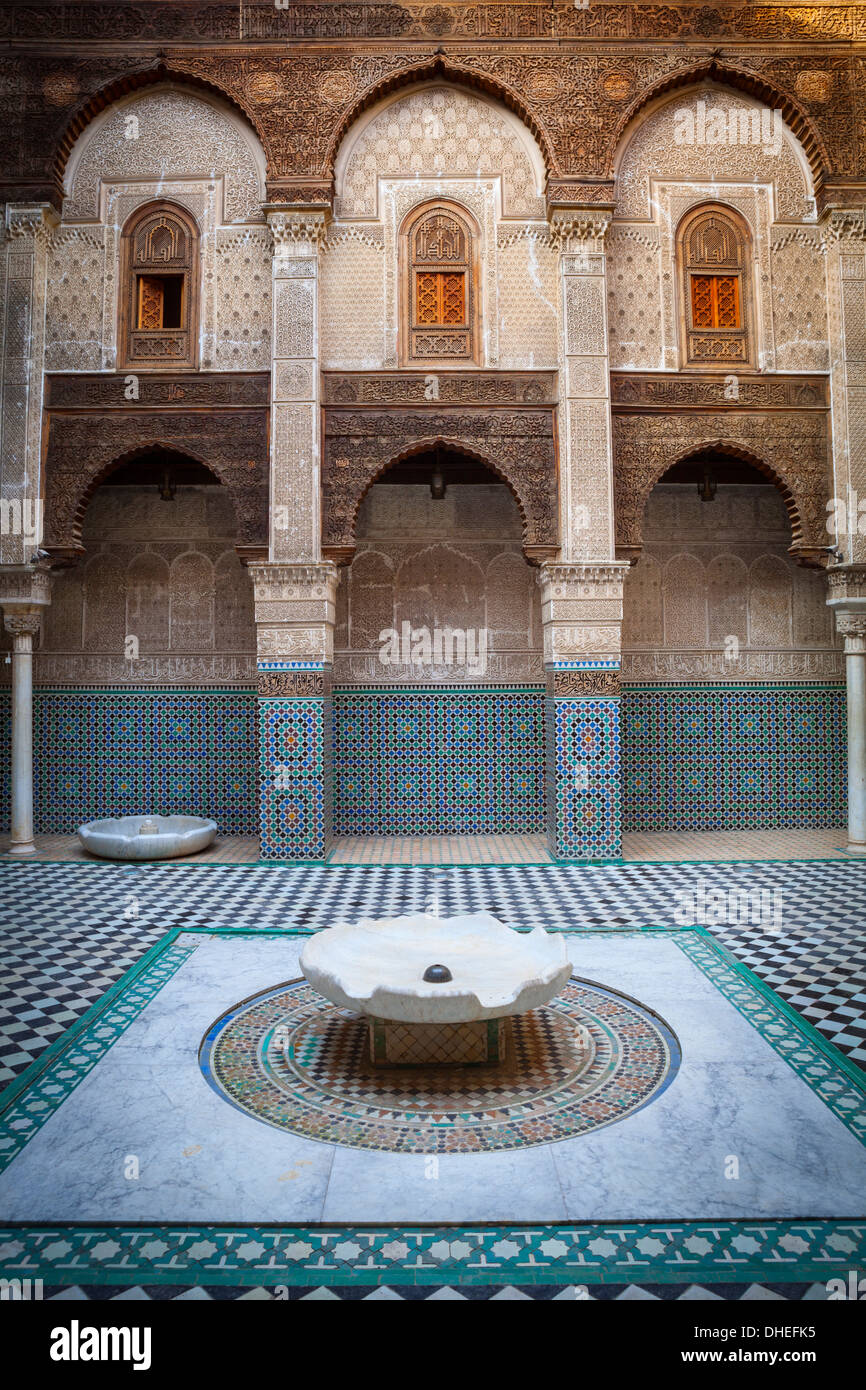 The ornate interior of Madersa Bou Inania, Fes el-Bali, UNESCO World Heritage Site, Fez, Morocco, North Africa, Stock Photo