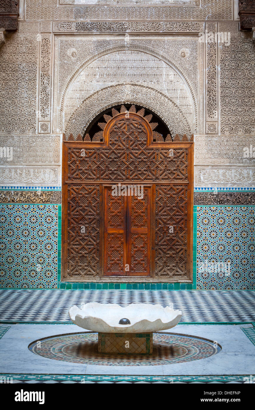 The ornate interior of Madersa Bou Inania, Fes el Bali, UNESCO World Heritage Site, Fez, Morocco, North Africa, Stock Photo