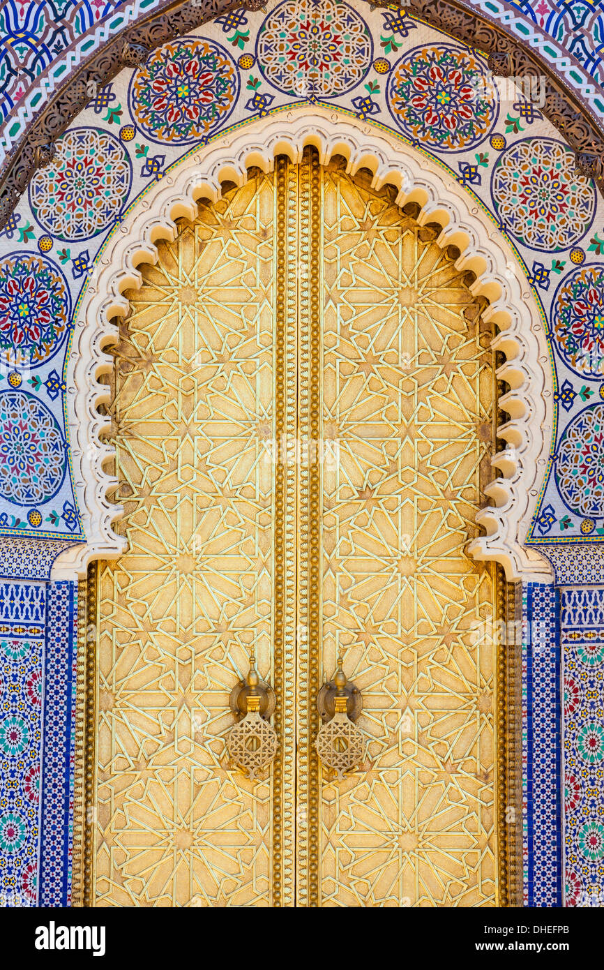 Royal Palace door, Fes, Morocco, North Africa, Africa - Stock Image